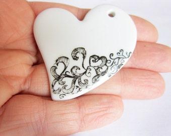 Heart Black and White ceramic pendant - OOAK