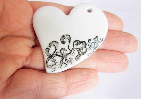 Heart Black and White ceramic pendent - OOAK