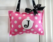 Door Hanger Pillow Pink White Polka Dots Felt Personalized Initial Button Pin