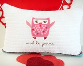SALE 6.00 Valentine Owl Pillow Hearts Pink Red White Turquoise Accent Decorative Repurposed Cushion