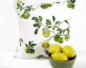 Apple Pillow Covers Green Yellow White Decorative Repurposed Pair 18x18