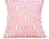 Pink Pillow Covers Morrocan Quatrefoil Lattice Cream Decorative Pair 16x16