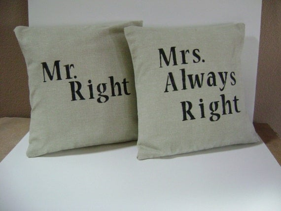 RESERVED FOR MEGANMURRAY90 Pillow Covers  Decorative    Mr. and Mrs.    Oatmeal and Black  16x16