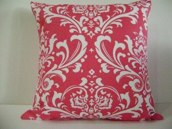 Pink and White Damask  Decorative Pillow Covers   18x18