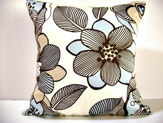 Pillow Covers  Aqua Brown Beige Tan  Modern Floral  Decorative  Set of 2  18x18