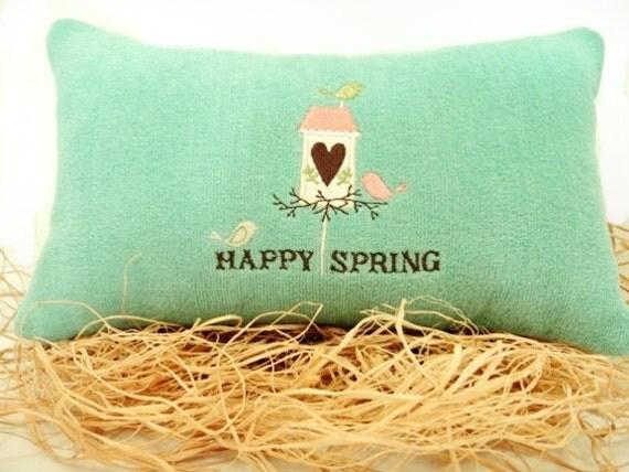 Spring Pillow Aqua Birds Birdhouse Peach Lime Green Brown Happy Spring Heart Decorative Repurposed