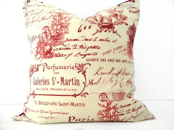 WEEKLY SPECIAL 10.00 Pillow Cover French Red Sand Beige Script Coral Decorative Accent Cushion Repurposed 16x16