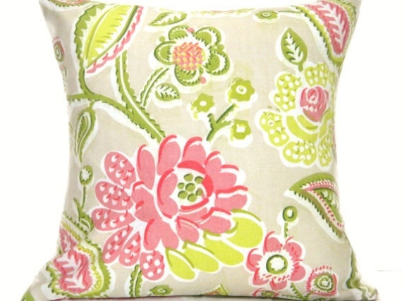 Floral Pillow Covers - Pink Lime Green Chartreuse Red White Beige - Designer Decorative Pair 18x18