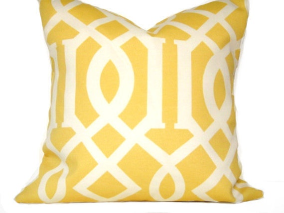 WEEKLY SPECIAL 2 for 20.00 Yellow Pillow Covers Mustard Beige Geometric Lattice Outdoor Indoor Decorative Pair 16x16