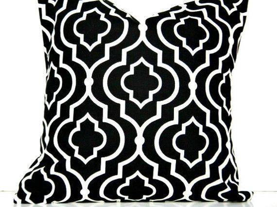 WEEKLY SPECIAL 2 for 20.00 Black Moroccan Pillow Covers White Quatrefoil Decorative Pair 16x16