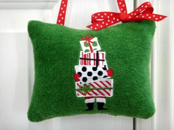 Door Hanger Christmas Green Red Black Presents Santa Stripes Polka Dots Repurposed Embroidered