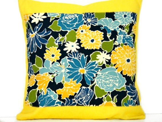 Floral Pillow Cover Yellow Blue Green Mustard Navy Blue White