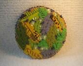 SUMMER SALE Felt Needlework Round Picture Textile Art