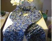 SUMMER SALE Scarf blue white melange variegated knitted