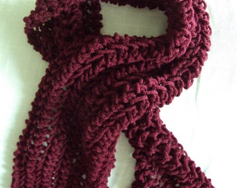 Girls Handmade Dark Red Scarf frayed with Grey