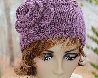 Knit Headband with Crocheted Flower Purple