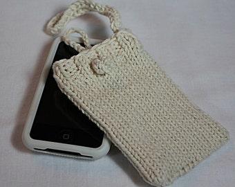 Hand Knit Cream 100 percent cotton IPhone - IPod Sweater