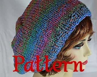 Knitting Pattern PDF for a Slouchy hat using bulky yarn