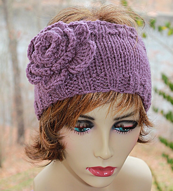 Knit Headband Pattern With Crochet Flower : Knit Headband with Crocheted Flower Purple