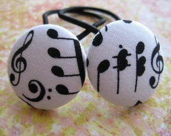 Music Lover's Ponytail Holders Hair Tie fabric buttons