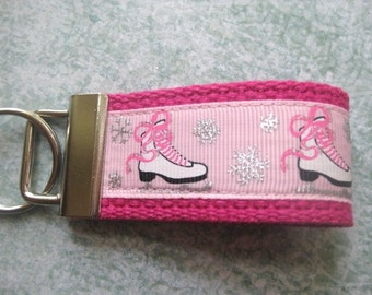 Ice Skates Pink Mini Key Fob Key Chain