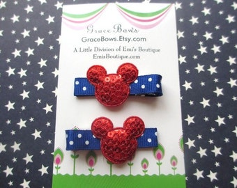 Minnie inspired Patriotic Mouse Hair Clips