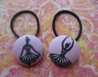 Pink Ballerina Ponytail Holders Hair Tie fabric buttons