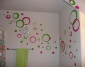 Wall Vinyl Room Sticker Decal - Circles and Rings - 2-colors 50 pcs 11in.