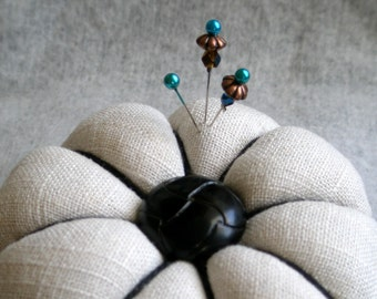 Classic Linen Pin Cushion With Leather Button