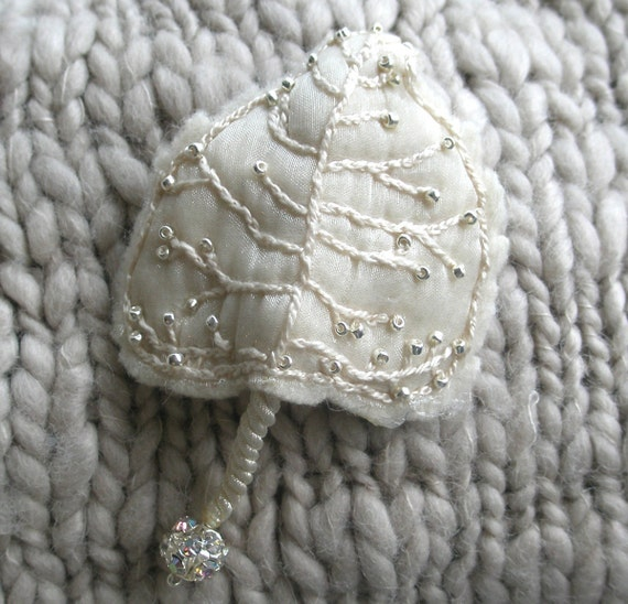 Embroidered Brooch Beaded White Cottonwood Leaf on Wool, Ready to Ship