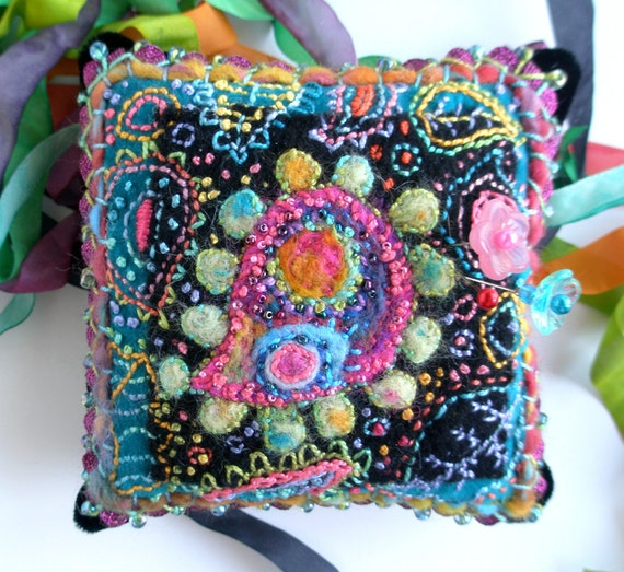 Paisley Pincushion Hand Embroidered on Recycled Wool