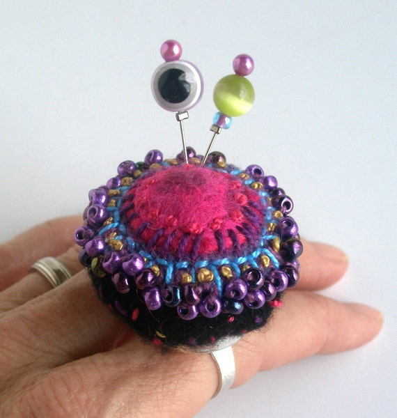 Beaded Pincushion Ring, Pink and Purple on Black