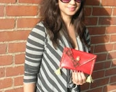 Spencer, plaid, clutch, cute bow, gold details, HALF PRICE