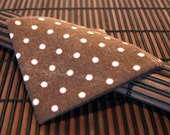 Medium - Brown with Pale Pink Polka Dots Deluxe Flannel Handkerchiefs - Set of 4 Flankies