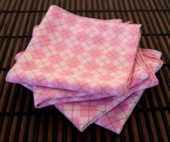 Small Flankie - Pink Argyle Flannel Handkerchiefs - Set of 4