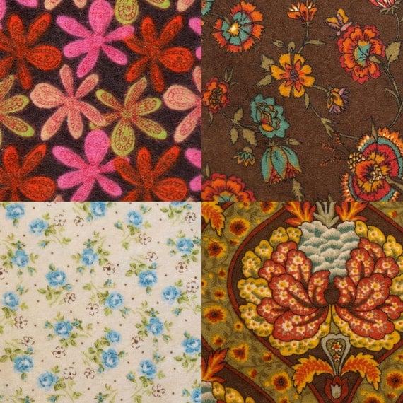 Medium - Mixed Set No.m1d all Deluxe Flannel Handkerchiefs - Set of 4 Flankies