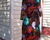 Vintage Lingerie Set Two Piece Matching Gown and Robe Multicolored Sexy Very Colorful Size 34 Bust By Vassarette Brand