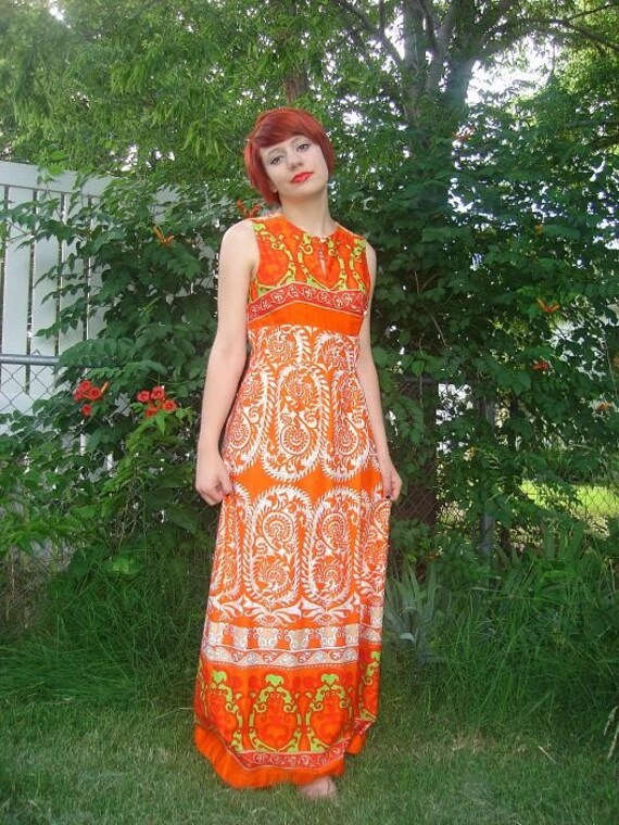 Vintage Malihini Hawaii  Orange Wrap-Front Maxi Dress Sleeveless Cotton Summery Boho Print