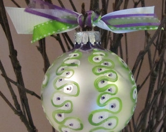Ribbon  Candy Ornament (Lime and Plum)