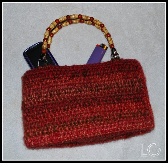 Crochet Bag Bamboo Handles Pattern : Items similar to Cool Crochet Purse with Bamboo Handles on ...