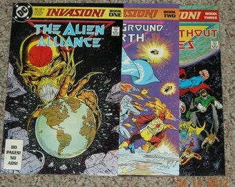 Vintage DC Invasion Comic Book Series 1-3 1988
