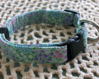 Green Flowered Adjustable Dog Collar