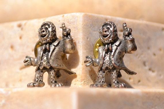 Vintage Pewter Dancing Monkeys Scatter Pins Pair