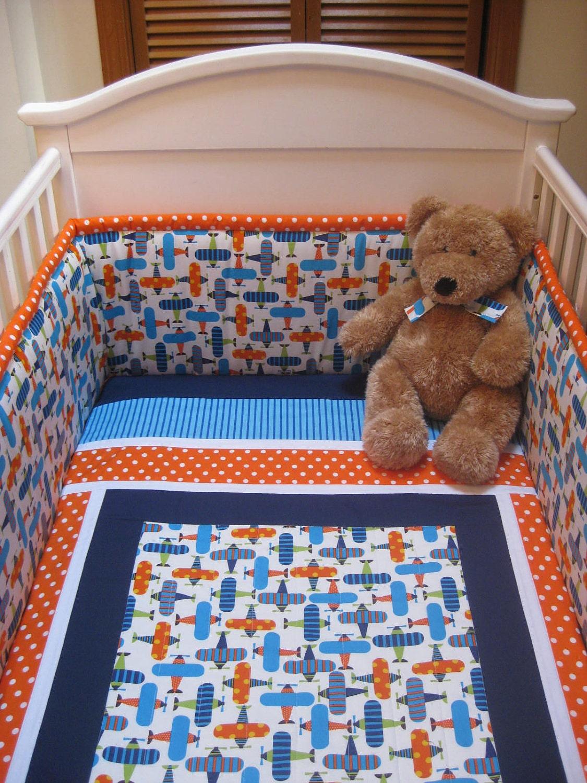 3 Piece Airplane Crib Set