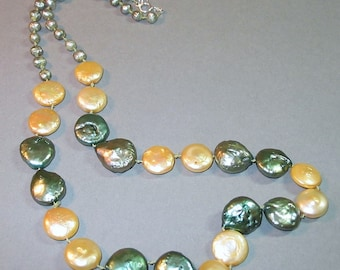 Hand Knotted Coin Pearl Necklace in Yellow and Green