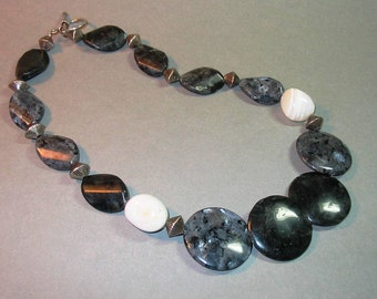 Snowflake Agate and Moonstone Necklace