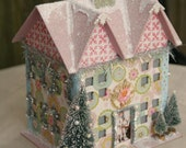 SALE - Glittered Papier Mache Winter House FREE SHIPPING