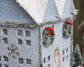 SALE Glittered Papier Mache Winter House SALE