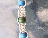 Hemp Tie Bracelet with Olive Green and Blue Wood Beads