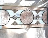 1930s Pink Depression Glass Stained Glass Plate Panel Valance